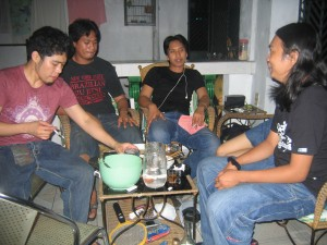 From Left : me (jv lead), ivan (friend of ours), vj (rhythm guitarist), jeric (bass)
